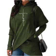 Autumn Winter Women Hoodies Sweatshirts Casual Faith Cross Embroidered Pullovers Long Sleeve Hoodies Famale Christmas Warm Tops