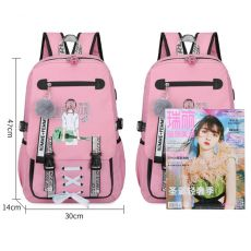 Pink Canvas Backpack Women School Bags for Teenage Girls Preppy Style Large Capacity USB Back Pack Rucksack Youth Bagpack 2020