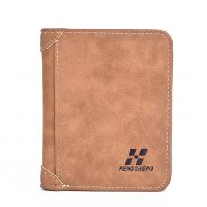 New Men's Wallet Short Frosted Leather Wallet Retro Three Fold Vertical Wallet Youth Korean Multi-card Wallet 2020 Men Fashion