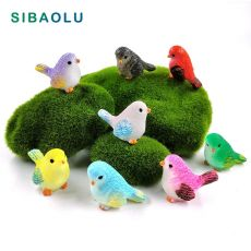 8pcs Artificial Little Parrot bird Nest figurine animal Model home decor miniature fairy garden decoration accessories modern