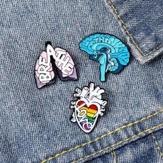 Anatomy Heart Brain Lung Enamel Pin Organ Lapel Pin Badge Cartoon Brooches Wholesale Medical Jewelry Gift For Doctor Friends