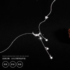 925 Sterling Silver Star Moon Simple Elegant Temperament Tassel  Necklaces For Women choker collares Wedding Jewelry Necklace