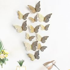 12PCS/Set 3D Wall Stickers Hollow Butterfly For Kids Rooms Home Wall Decor Fridge Stickers Decoration Butterfly Wall Stickers