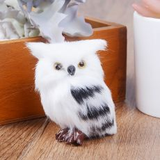 Cute Lovely Owl White Black Furry Christmas Bird Ornament Decoration Adornment Simulation for Home Decor Gift  5*4.5*7cm