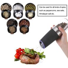 Electric Salt Pepper Grinder, Automatic Pepper Mill and Salt Grinder,Convenient Adjustable Grind Coarseness (Black,Silver)
