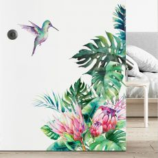 Tropical leaves flowers bird wall stickers bedroom living room decoration mural home decor decals removable stickers wallpaper