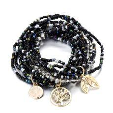 Bohemian Life of Tree Leave Charm Multi Layered Bracelets For Women Boho Crystal Seed Beads Bracelets Jewelry Pulseras Mujer