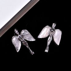 1PC Natural Crystal Rose Quartz Angel Pendant Quartz Crystal Mineral Jewelry Fashion Couple Decoration DIY Gift Jewelry Women