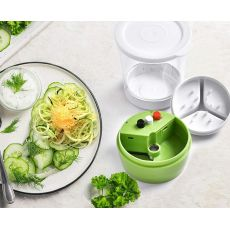 Handheld Spiralizer Vegetable Slicer 5 in1 Adjustable Spiral Cutter with Container Zucchini Noodle Spaghetti Maker Spiral Slicer