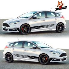 PVC Vinyl Auto Side Car Sticker Sport Stripes Car Stickers Car Both Side Body Sport Auto Stickers for Ford 2013-2018 Focus