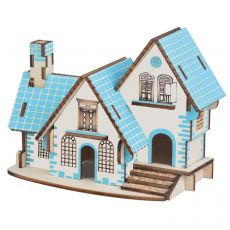 3D Wooden Puzzle Toys Jigsaw Architecture House DIY Manual Assembly Kit Kids Learning Educational Wooden Toys for Children
