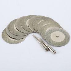 10pcs 35mm dremel accessories Stone Jade Glass Diamond dremel Cutting Disc Fit Rotary Tool Dremel Drills Tool with Two Mandrel