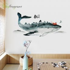 Creative chinese style ink whale sticker decoration bedroom living room TV sofa background wall stickers wallpaper self-adhesive