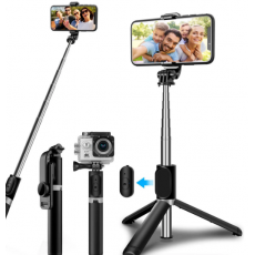 Extendable Selfie Stick with Bluetooth Remote and Tripod Stand, Portable, Lightweight