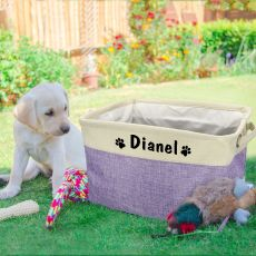 Personalized Pet Dog Toy Storage Basket Dog Canvas Bag Foldable Pet Toys Linen Storage Box Bins Dog Accessories Pet Supplies