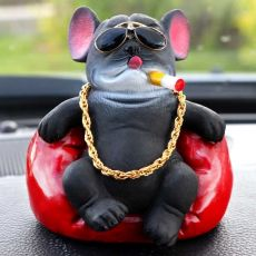 Car High-Quality Creative Resin Smoking Dog Craft Jewelry Personality Social Bully Dog
