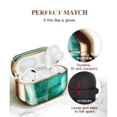 AirPods Pro Case Stylish Marble Full Body Protective Hard Shell Case Cover with Wrist Strap