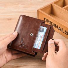 Men's Wallets Genuine Leather Wallet Men Vertical Business Card Holder Male Snap Zipper Purse