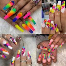 9pcs/set Neon Pigment Powder Fluorescent Nail Glitter Shinny Ombre Chrome Dust DIY Polish Manicure For Nails Art Decoration Kit