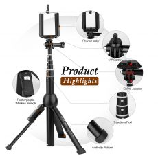 All in one Portable 45 Inch Selfie Stick Tripod Phone Tripod Stand with Wireless Remote for iphone