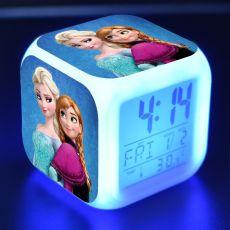 Frozen 2 Colorful LED Luminous Creative Alarm Clock Disney Anime Figure Elsa Anna Olaf Pattern