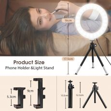 """10"""" Led Selfie Ring Light with Tripod Stand and Remote & Cell Phone Holder,Desk Makeup Ring Lamp for YouTube/Live Stream"""