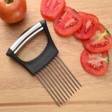 Food Slice Assistant Vegetable Holder Stainless Steel Onion Cutter Onion Chop Fruit Vegetables Cutter Slicer Tomato Cutter Knife
