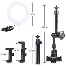 Selfie Ring Light for Laptop Computer Desktop Youtube, Ring Lamp Video Conference Lighting Kit With Tripod Phone Holder Clip On