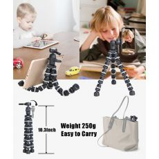 Tripod for Phone with Mobile phone Holder Gopura Mount, Mini flexible Desk Tripod with Remote