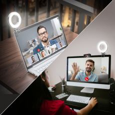 Video Conference Light Selfie Ring Light For iPad Laptop PC Webcam Light With Clip