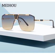 Gradient Square Sunglasses Design Oversized Rimless Sun Glasses For Female Eyewear