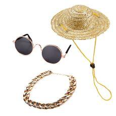 3pc Pet Dog Cat Accessories Sunglasses Necklace Set Decoration Accessories For Cat Dog