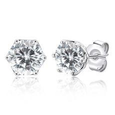 Diamond Earrings Round 925 Sterling Silver 1 Ct Women Cute Romantic Anniversary Gift