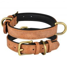 Leather Dog Collar Adjustable Double D-ring Dog Control Small Medium Large Dogs