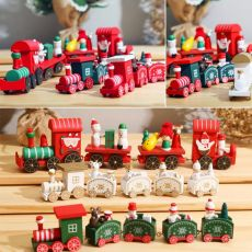 Merry Christmas Wooden Train Ornament Christmas Decoration For Home Santa Claus Gift