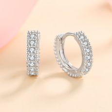 Diamond Test Past D Color Micro Moissanite Rund Screw Stud Earrings Silver