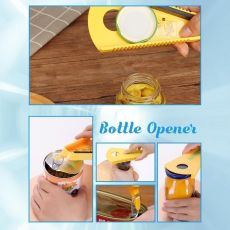 1PCS Jar Opener, 5 in 1 Multi Function Can Opener Bottle Opener Kit with Silicone Handle