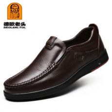Men's Genuine Leather Shoes Size 38-47 Head Leather Soft Anti-slip Driving Shoes Man