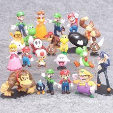 22pcs/set Super Mario Bros PVC Action Figures Toys Luigi Yoshi Peach Princess Shy Guy