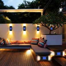 2pcs LED Solar Light Outdoor Waterproof Lighting Solar Powered Lamps Wall Lamps for Garden Decoration LED