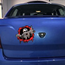 3D Car Stickers Skeleton Skull In The Bullet Hole Funny Colorful Car Auto Decals Bullet Hole