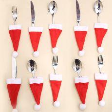 10pcs Tableware Holder bag Christmas hat Christmas Merry Christmas Decorations for home