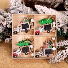 12Pcs Christmas Snowflakes Wooden Pendants Xmas Tree Ornaments Home Hanging Decor