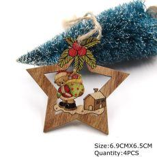 4PCS Star Printed Wooden Pendants Ornaments Xmas Tree Ornament DIY Wood Crafts Kids