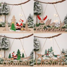 Christmas Santa Claus Door Wooden Hanging Pendant Merry Christmas Decoration For Home
