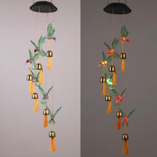 Solar Light Fantasy hanging lamp Waterproof Crystal Hummingbird Butterfly Wind Chime Lamp for Home