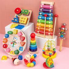 Montessori Preschool Wooden Toy Round Beads Knock Piano Contorts Clock