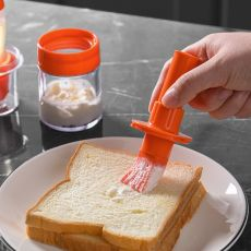 Portable Silicone Oil Bottle with Brush Grill Oil Brushes Liquid Oil Pastry Kitchen Baking BBQ Tool
