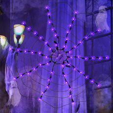Twinkle Star Halloween Lighted Orange 60 LED Spider Web Lights