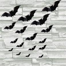 16pcs Halloween 3D black bat Wall Stickers Halloween party DIY decorative wall Decal